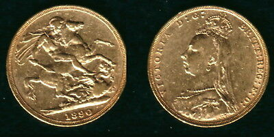 1890 English Minted Jubilee Head Queen Victoria Sovereign--A Lustrous High Grade