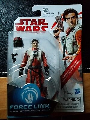 "POE DAMERON Star Wars The Last Jedi 3.75"" Inch Action Figure Force Link"