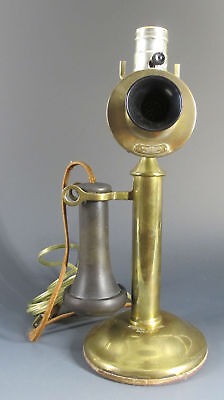 Antique c 1915 Western Electric Co. Brass Candlestick Telephone Phone Lamp  yqz