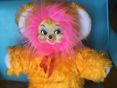Vintage Rubber Face Stuffed Happy Bright  Yellow Fur Pink Hair Bear
