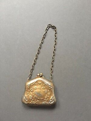 Vintage Antique Gold Tone CHATELAINE Coin Purse with Flowers