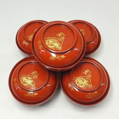 F075: Japanese lacquerware five covered bowls with good CHINKIN work
