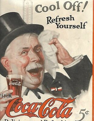 """Scarce 1924 Coca'cola S.e.p. Old Man """"cool Off"""" Thermometer Modified Flair Glass"""