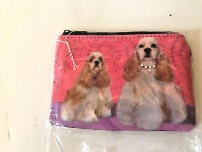 Blonde Cocker Spaniel Dog Coin Purse Zippered Top Money Holder Travel Valentine