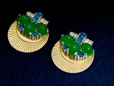 Vintage 40s Art Deco Rising Sun Jade Glass Sapphire Baguette Rhinestone Earrings