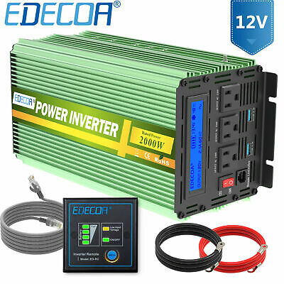 Car Power Inverter 2000W 4000 Watt 12V dc to 110V 120V ac LCD Cables remote RV