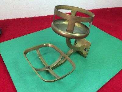 Antique Vintage Victorian Brass Bathroom Soap & Cup Glass Holder France