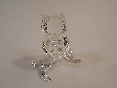 """Old Hand Blown Clear Glass Figurine Of An Owl Sitting On A Branch ~ 2 3/4"""" Tall"""