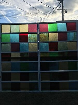 Hand crafted, unique wood framed Stain glass window wall is 4' x 7' & contains 2