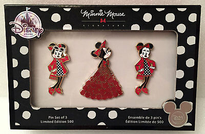 D23 Expo 2017 Exclusive MINNIE MOUSE SIGNATURE Pin Set of 3 LE 500 NIB Store