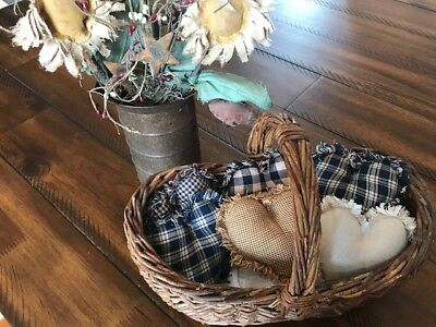 New Homespun Plaid Ornies Bowl Fillers Rag PrImITive Hearts Navy Blue Tan  6