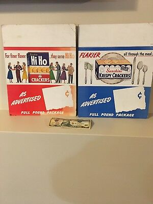Vintage Point Of Sale Cardboard Posters Sunshine Krispy Crackers And Hiho Signs