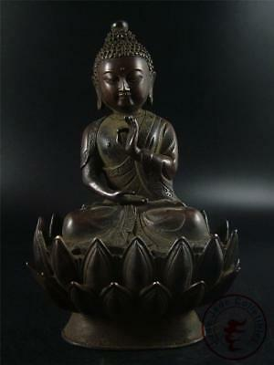 Large Antique Old Chinese Tibet Gilt Bronze Tibetan Buddha Sakyamuni Statue Qing