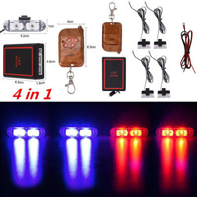 8 LED Blue & Red Car Truck Strobe Emergency Warning Light for Deck Dash Grill 8W
