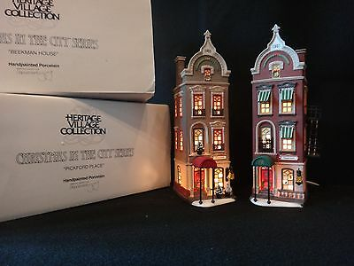 "Dept 56 Christmas in the City ""Brownstones On The Square"" set of 2"