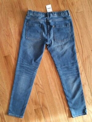 New Crewcuts J. Crew Girls Jeans Ankle Toothpick Blue Denim Adjustable Waist 12