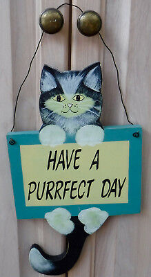 Handcrafted Wood Tuxedo Cat Hanging Sign Plaque Have A Purrfect Day Green Yellow