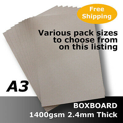 BoxBoard Backing Card ChipBoard 1400gsm 2.4mm A3 Grey 100% ReCycled #B1768