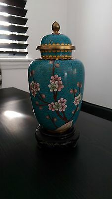 Chinese Turquoise Cherry Blossom Vase/urn Prc
