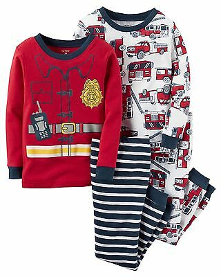 Carters 18 Months Pajamas Pjs NEW Two Pairs Long Sleeve Fire Truck Boys