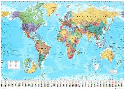 HUGE LAMINATED WORLD Country Flags Learning Educational Kids Poster - Huge world map for wall