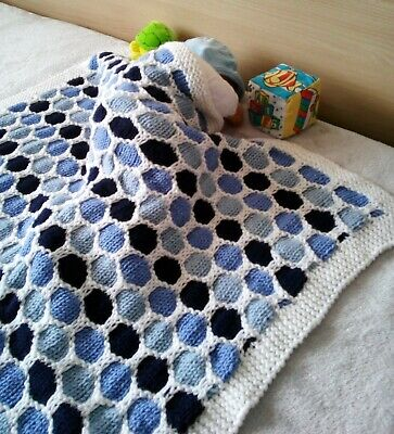 Eva's Designs Hand-knitted wool Honeycomb baby blanket