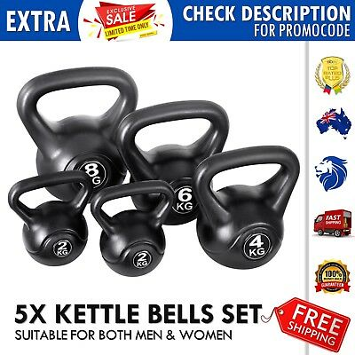 5x Set Concrete Filled Kettle Bells Professional Workout Several Sizes All Ages