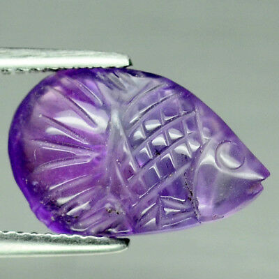 5.29 Ct Natural! Purple Clr Change To Pink Brazilian Amethyst Fish Carved