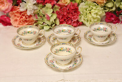 """Vintage, Foley China, """"Ming Rose"""" Cups/Saucers (4)"""