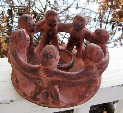 Mayan Red Clay 7 Circle Of Friends Candle Holder Mexico Pre Columbian Art Form