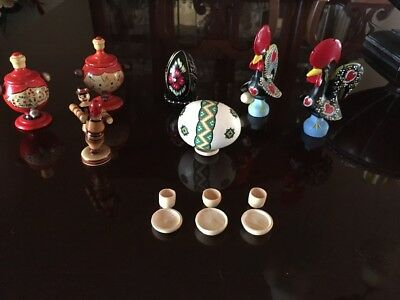 Small Colorful WOODEN ROOSTERS EGGS +3 Set of 7   3tiny plates ans 3 tiny cups