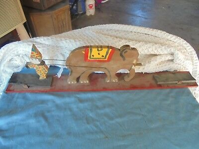Antique Primitive Folk Art Carved And Painted Clown Jumping Over Elephant