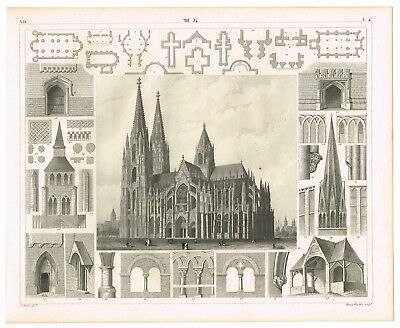 Vintage An Antique Print 1851 Engraving Architecture Medieval Cologne Cathedral