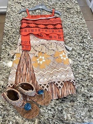 Disney Moana Costume Size 9-10 Complete with Shoes size 13