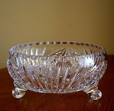 Bohemian Lead Crystal Footed Bowl Vintage Clear Cut Glass Centerpiece