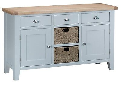 Elegance Oak 2 Door 3 Drawer Sideboard-Grey-Storage Unit With Baskets-Modern