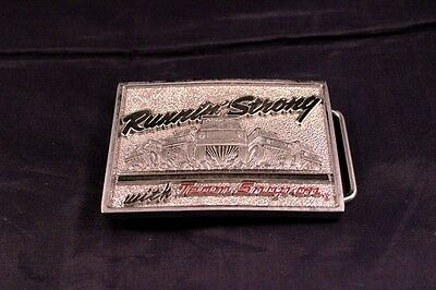 """Vintage Heavy 3.5"""" Team Snap-On Tools Belt Buckle SSX-1176 Chrome Over Brass USA"""