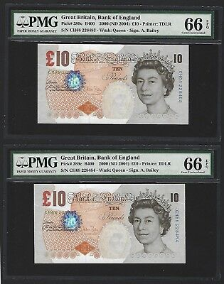 2000 (2004) Great Britain Bank of England 10 Pounds PMG 66 EPQ GEM UNC 2x Bailey