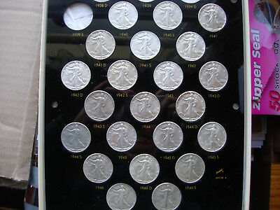 Collection 22 Mostly Au/bu Walking Liberty Silver Half Dollars 1940-1947 Pds