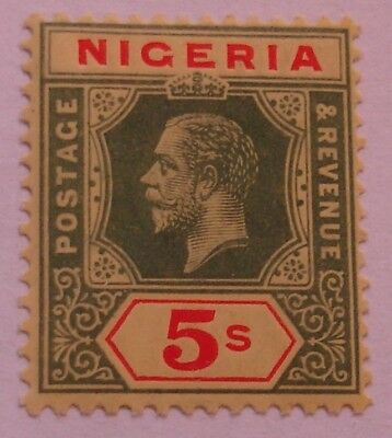 Nigeria: 1914-29 SG10 5s green & red on yellow (white back). Fine mint.