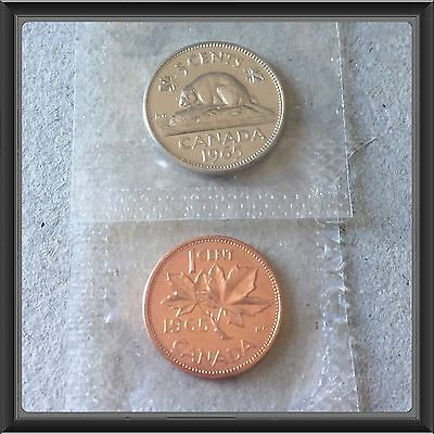 🇨🇦 1965 Canada 5 Cents And 1 Cent   Proof-like  MS-65 Mint Sealed 🇨🇦