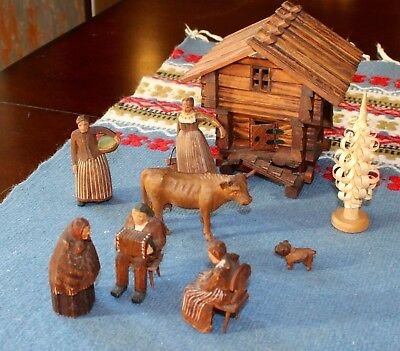 Vintage Swiss Wood Carvings. Mini Farm. House. People. Cow. Dog.