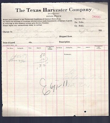 Texas Harvester Company 1911 Repair Invoice
