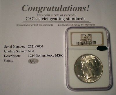 1924 NGC MS65 CAC Green label PEACE SILVER DOLLAR OLDER HOLDER FREE SHIPPING!