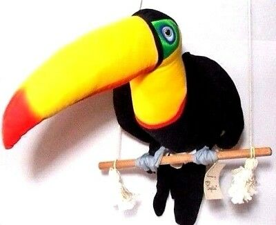 "Cloth Stuffed Animal Hanging Toucan Bird Angelitos El Salvador LG 16"" Handmade"