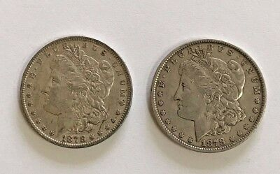 2 1878 7 Tail Feather Round Breast Silver Morgan Dollars Xf