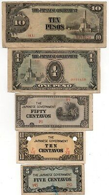 5 Notes WWII Japanese Government 10 & 1 Pesos 50 10 & 5 Centavos