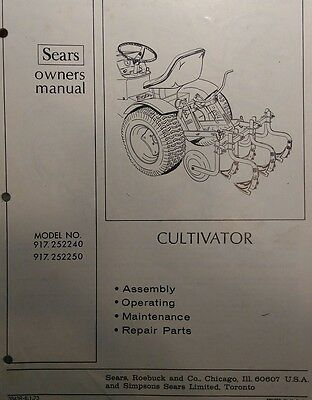 Sears Lawn Garden Tractor Cultivator & 3-Point Hitch Owner & Parts (2 Manuals)