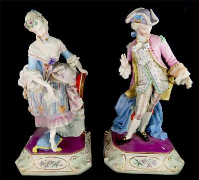 Pair Antique 19Th Century French Bisque Porcelain Figures Lady & Gentleman