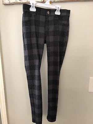 Total Girl Size 10 Houndstooth Jeggings gray and black plaid